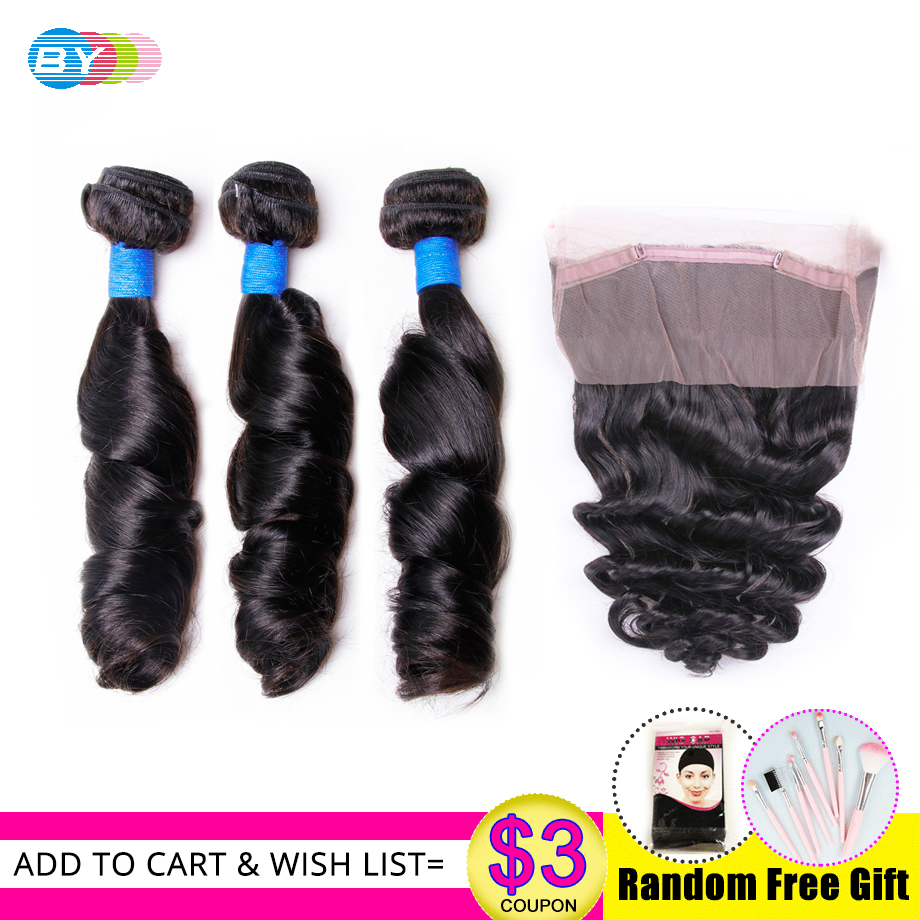 BY Loose Wave Bundles With 360 Frontal Brazilian Hair Bundles Human Hair Extensions 3 Bundles Deals