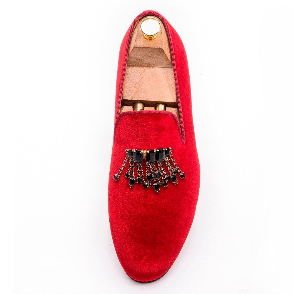 Nouveau haute qualité rouge velours à la main hommes chaussures avec des chaînes de strass noir classique hommes banquet mocassins hommes chaussures habillées-in Chaussures décontractées homme from Chaussures    3