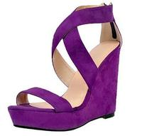 Summer woman flock platform purple open toe wedges heel sandals Fashion cross tied super high heel shoes Party shoes SIZE34 43