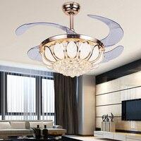 מאווררי תקרה עם אורות גביש נשלף מתקפל crystalchandelier מאוורר מאוורר בסגנון מודרני מנורת נברשת אור