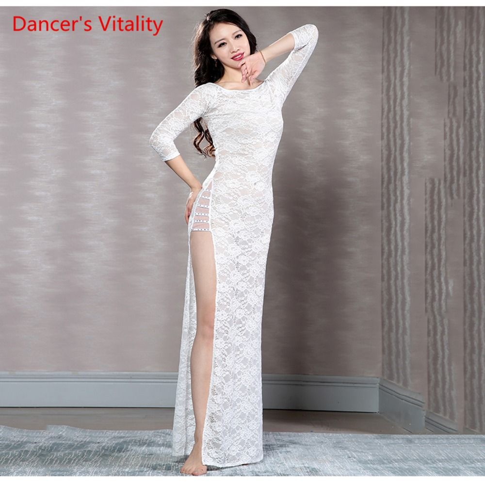 White Sexy Split Long Skirt Belly Dance Lace Dress Sexy Dancer Dress Oriental Dance Bellydance Free Shipping