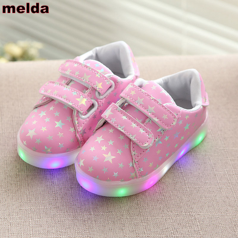 21-36 Kids Led Shoes Girls Luminous Sneakers Children Shoes Fashion Print Casual Shoes Boys Sport Trainers Lighted School Shoe