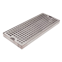"Surface Mount Drip Tray No Drain, 12""L x 5""W x 3/4""H, 304 Stainless Steel, Homebrew Beer Drip Tray"