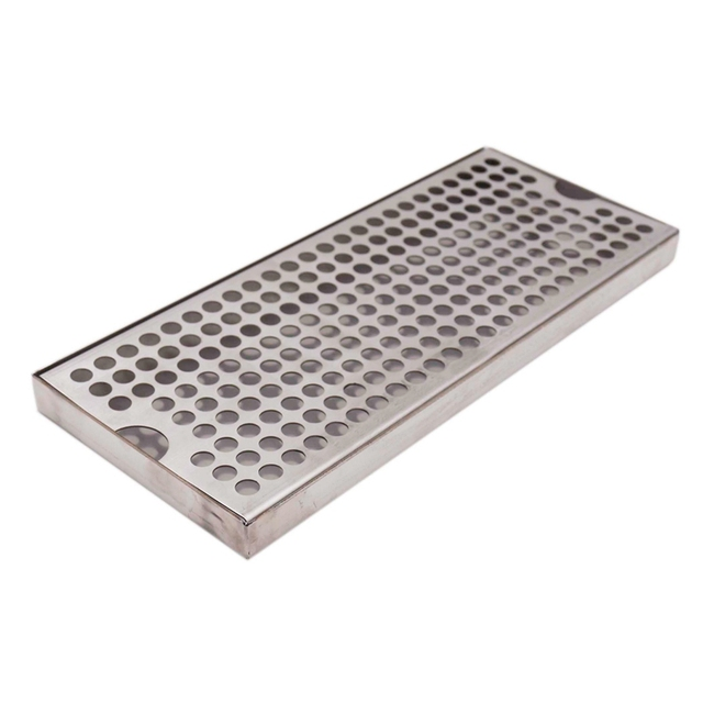 """Surface Mount Drip Tray No Drain, 12""""L x 5""""W x 3/4""""H, 304 Stainless Steel, Homebrew Beer Drip Tray"""