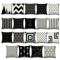 Fashion Back Pillow With Black White Geometric Arrow Wave Polka Dot Cross Pattern Creative Bed Decoration