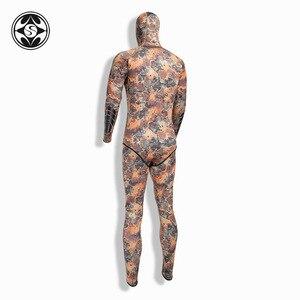 Image 4 - SLINX 2 חתיכות הסוואה ברדס חליפת צלילה סט שרוולים צלילה חליפה + מעיל להתחמם Spearfishing רטוב חליפת 3mm neoprene