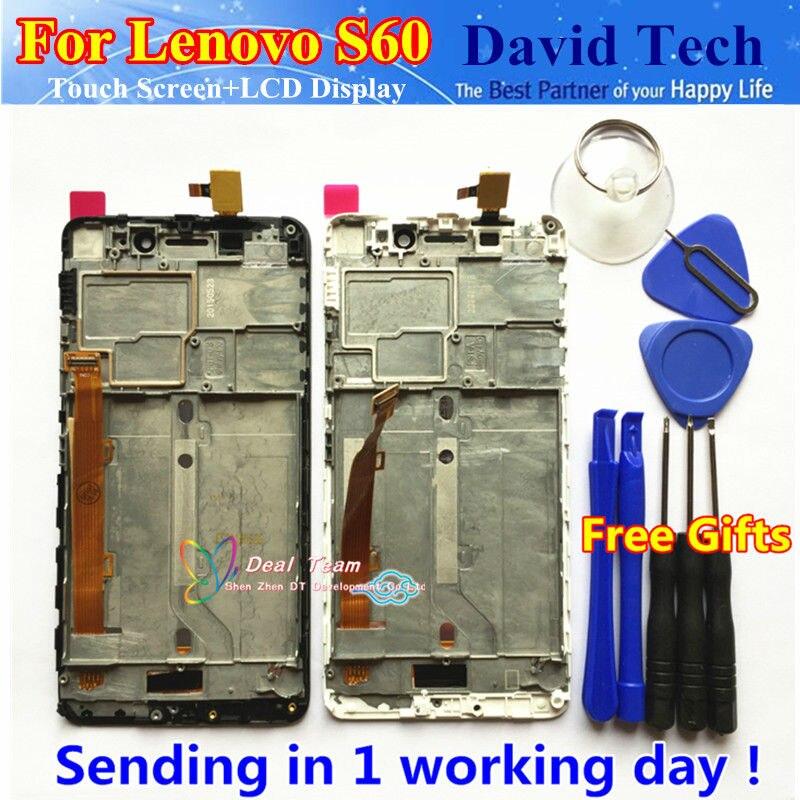 imágenes para De alta Calidad de Nueva Digitalizador de Pantalla Táctil + LCD de Repuesto Para Lenovo S60W S60 Teléfono Móvil Con Conexión Frame Envío
