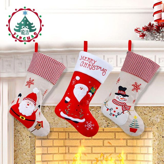 inhoo18 inch christmas stocking christmas decorations for home hanging socks santa claus candy bag christmas gift - Christmas Gift Decorations