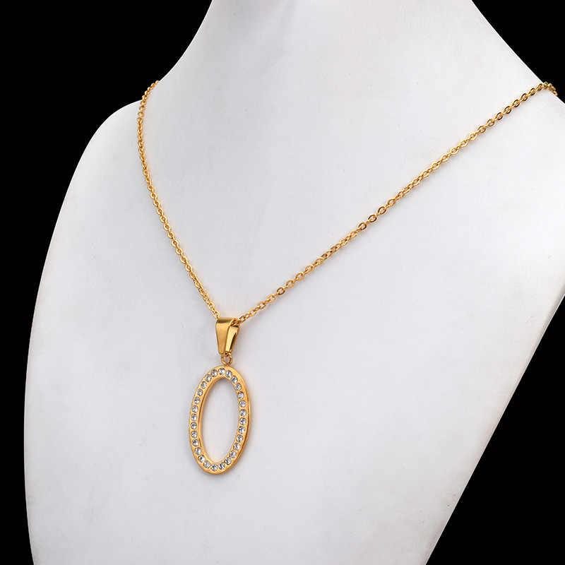SOITIS stal nierdzewna 316L biżuteria owalny kształt kobiety modne kolczyki naszyjnik klasyczny styl złoty kolor łańcuch zestawy biżuterii