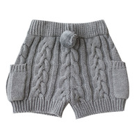 New Autumn Winter Knitted Short Pants Fashion Pocket Casual Trousers Boys Girls Classic Pant Cotton Kids