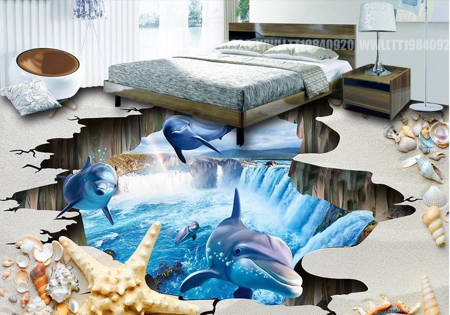 ФОТО 3 d floor custom waterproof wallpaper for bathrooms Shell Beach self-adhesive wallpaper waterproof floor