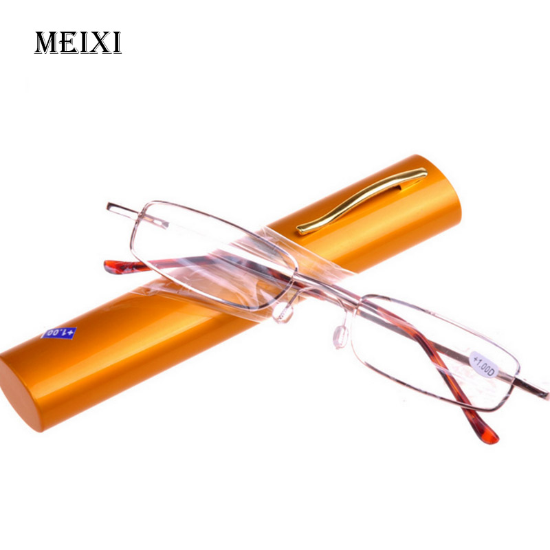Pencil Case Easy Carry Men Women Reading Glasses Ultra Light Alloy Frame Resin Lens Unisex Eyewear +1 +1.5 +2 +2.5 +3 +3.5 +4 classy alloy framed presbyopia reading glasses with protective case 2 50