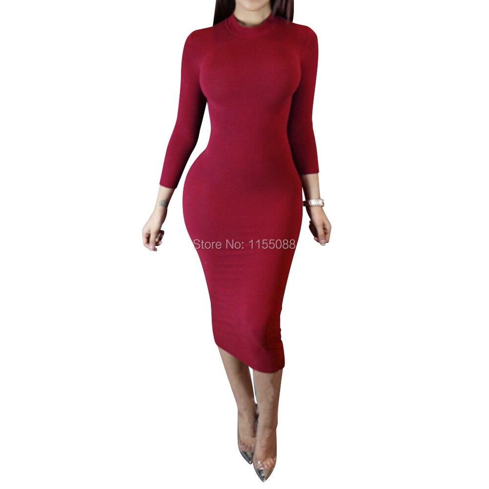 10pcs/lot New 2016 Bodycon Sexy Club Party Dresses Black White Long Sleeve Soild Elegant Casual Midi Dress Vestidos De Fiesta