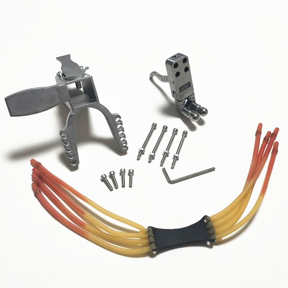 Slingshot mécanique bricolage accessoires 25*25mm module coulissant pédale acier inoxydable déclencheur fort bande de caoutchouc fronde accessori
