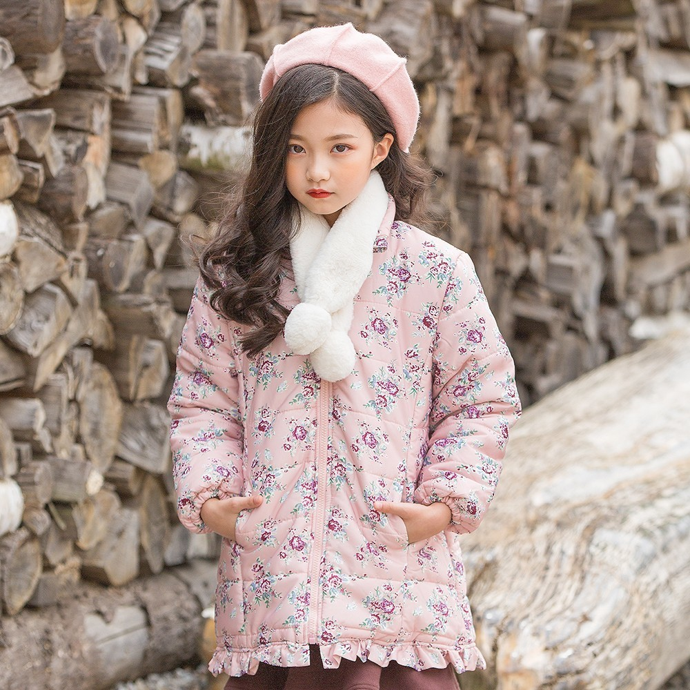 Floral Print Teenage Winter Coat Girl Kid Warm Clothes Parka Cotton Padded Pink Christmas Toddler Girls Jackets Kids Winter 2018