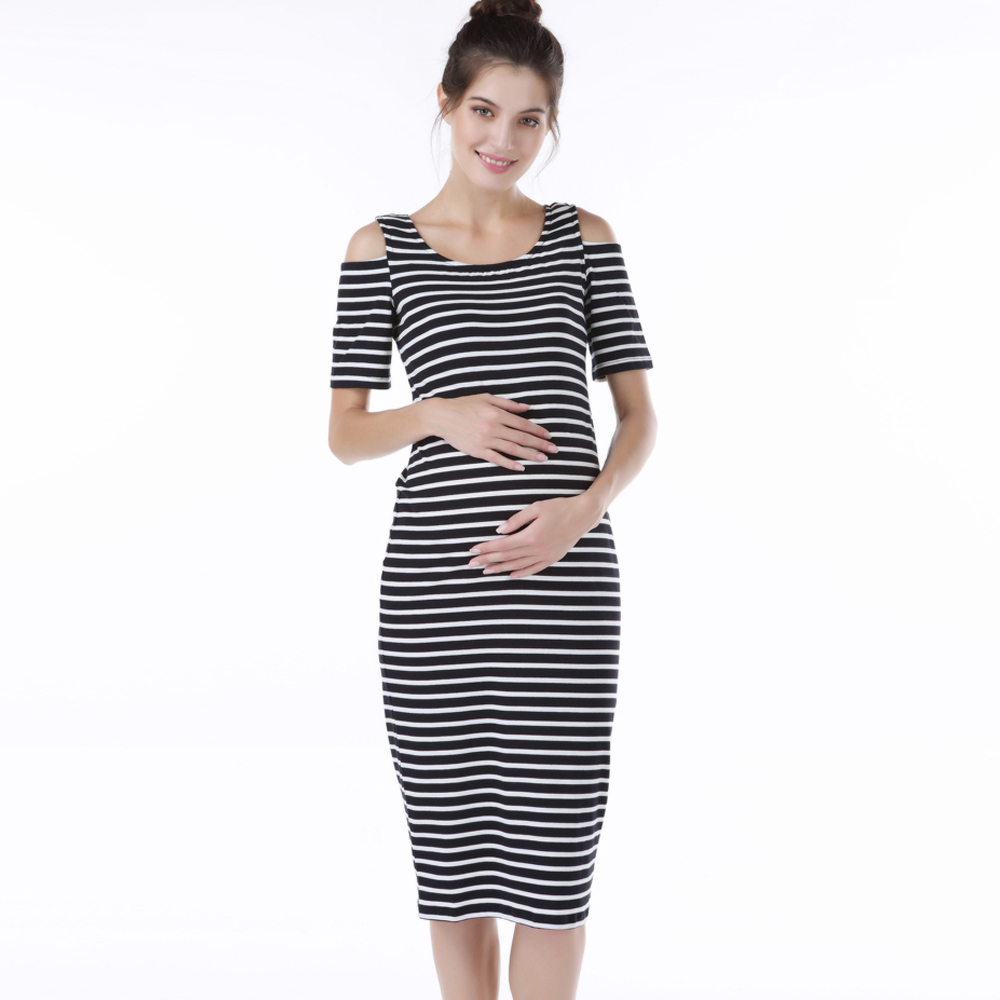 Lycra Seaside Maternity Dress for Pregnant Women Summer Casual Striped Pregnancy Dresses Clothes Short Sleeve Elastic Vestidos women s side ruched maternity clothes striped bodycon dress mama summer casual short sleeve wrap dresses pregnancy clothes