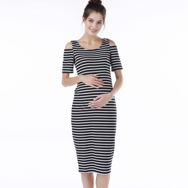 074f82d429051 Lycra Seaside Maternity Dress for Pregnant Women Summer Casual Striped Pregnancy  Dresses Clothes Short Sleeve Elastic Vestidos