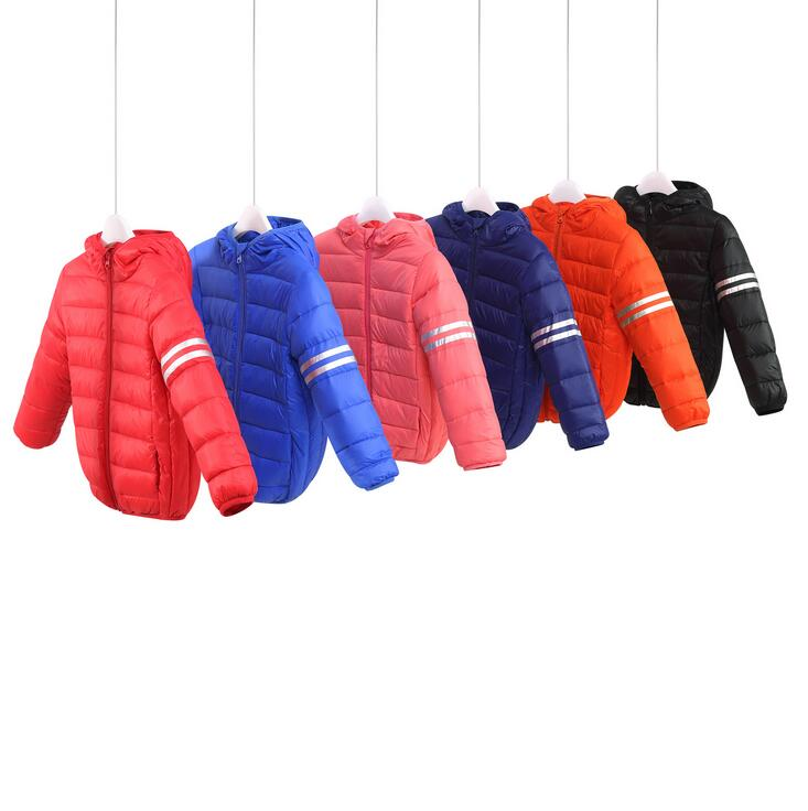 Fashion Slim Zipper Down Jacket For Girls Winter Baby Clothes England Style Striped Short Hooded Boys Coats Manteau Fille 2017 baby girl thickness warmer down jacket for girl fashion kids winter jacket manteau fille hiver hooded girls winter coat