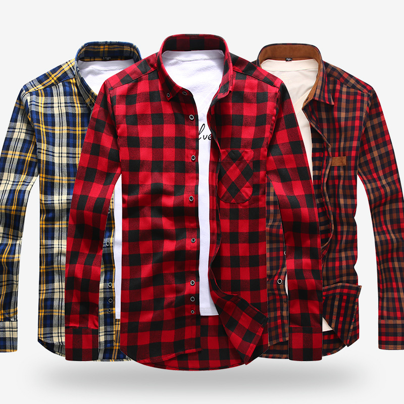 Mens Long Sleeve Contrast Bold Plaid Brushed Shirt with Left Chest Pocket Slim-fit Comfortable Soft Work Casual Flannel Shirts ...