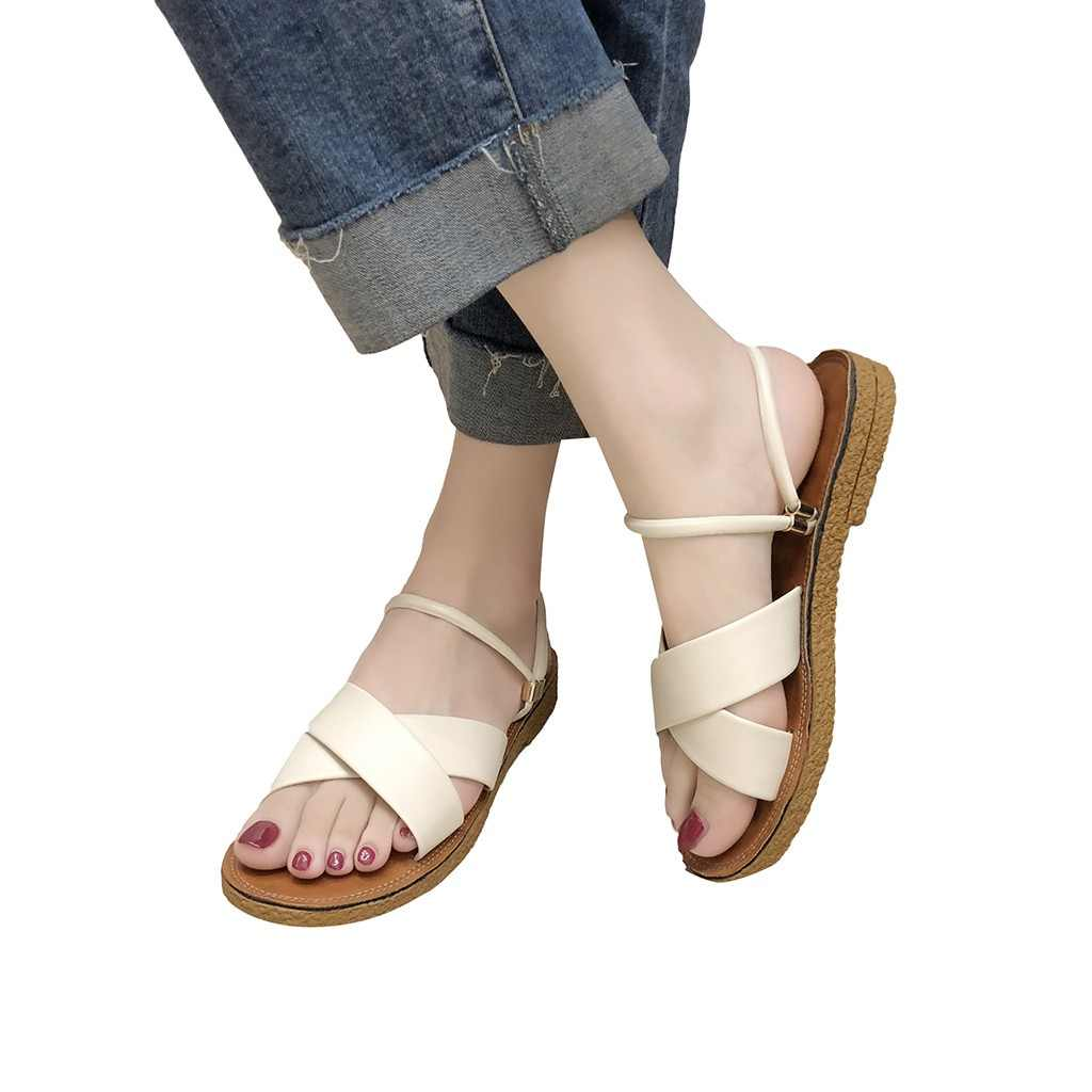 SAGACE 2019 Women Fashion Sandals Fashion Solid Color Versatile Flat Sandals Casual Slip On Woman Peep Toe Beach Shoes 94128