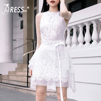 INDRESSME 2019 New Sexy Strapless Tank Party Dresses for Women Asymmetry Hem Mini Floral Lace With Belt Bandage Dress Vestidos