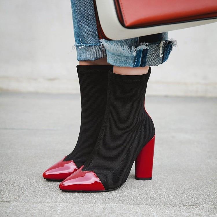 e3272de63a8c Noir Mode Chaussures Femmes Red Cheville Bottes Talons Patchwork Retour  Dames Bureau black Pointu Zipper Ronde 2018 Haut Bout Vogue Automne De Rouge  vin ...