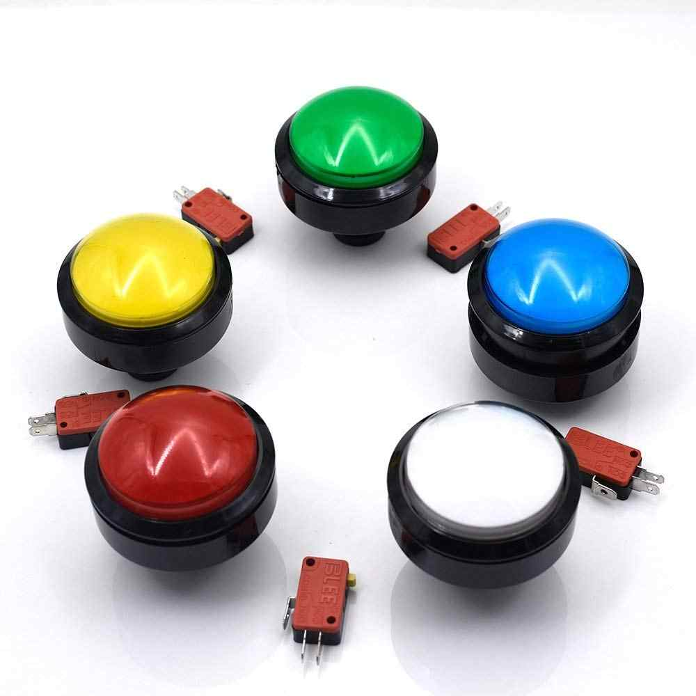 60mm Big Round Push Button LED Illuminated with Microswitch for DIY Arcade Game Machine Parts 5/12V Large Dome Light Switch