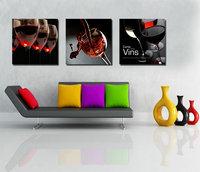 3 Pezzo Cucina Moderna Dipinti Su Tela Tazza di Vino Rosso Bottiglia Pittura A Olio di Arte della parete Set Bar Sala da pranzo di Casa Decorativi immagini