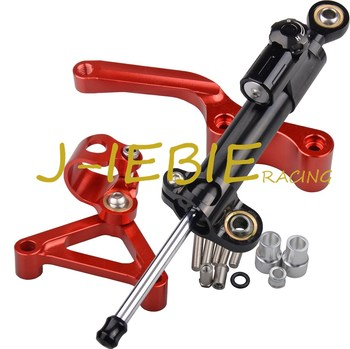 CNC Steering Damper Stabilizer and Red Bracket Mounting For Ducati 696 796 795 all years