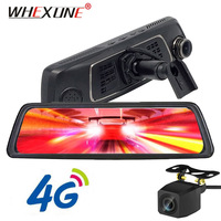 WHEXUNE 4G Special Mirror WIFI Car DVR Camera 10Touch Android rearview Mirror GPS 1080P video recorder Dual lens ADAS Dash Cam