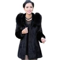 Faux Fur Coat Female Hooded Winter Long Coats 2017 High Quality Women's Fur Coat Elegant Black Fur Jacket Long Coat Of Faux Fur