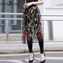 Bamskarosa mujeres vintage negro largo Faldas Mujer casual ver a través  floral malla Bordado falda elegante c12e9ed04156
