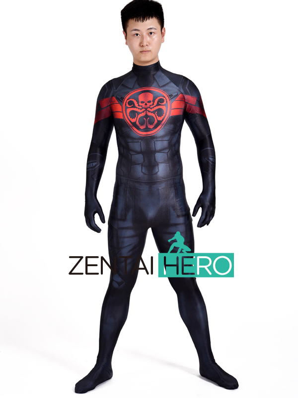 Free Shipping 3D Print Captain America Hydra Cosplay Costume Marvel Hydra Zentai Lycra Spandex Halloween Male Superhero Catsuit