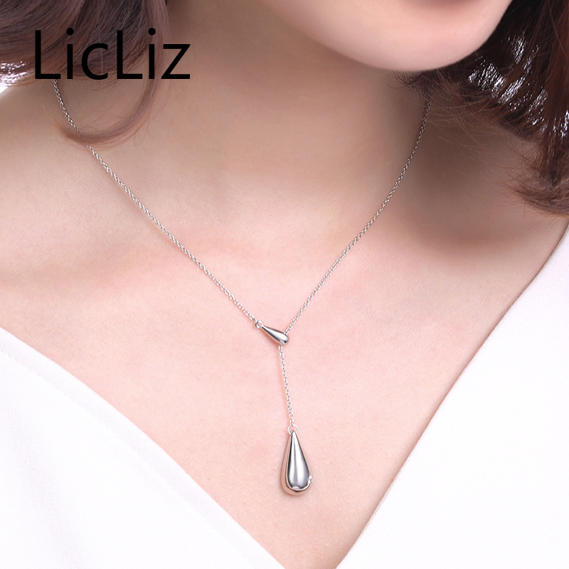 Licliz silver water drop necklace pendants links chain necklace licliz silver water drop necklace pendants links chain necklace colar choker cz zirconia teardrop necklace for women 925 ln0199 in necklaces from jewelry mozeypictures Choice Image