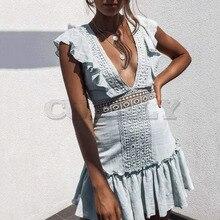 Cuerly 2019 summer lace crochet dress women v neck hollow out boho beach ruffle dress female party club mini dress L5 black v neck cami mini dress with crochet lace