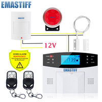 Free Shipping Wireless GSM Intruder Burglar Alarm Systems Security Home Wired Signal PIR Door Sensor Russian