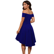 Summer Dress 2018 Sexy Elegant Party Bodycon Club Off Shoulder Dress Red Black Blue Casual Vintage Midi Dresses Plus Size