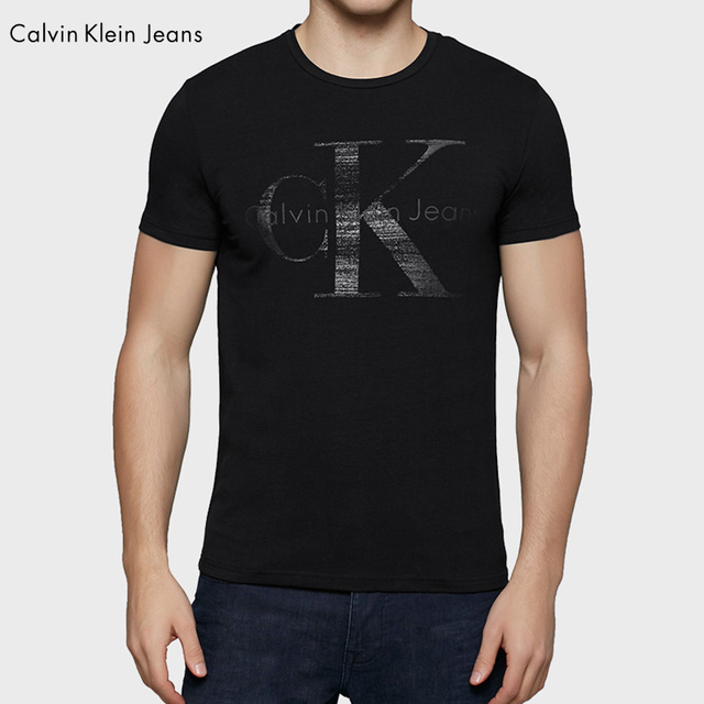 Calvin Klein Jeans / CK Male Short Sleeve T-shirt Slim O-Neck Cotton Simple Bottoming Shirt Men Letter Print Tops Tees 4ASKJ98