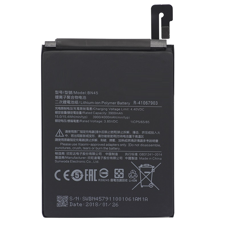 BN45 Mobile Phone <font><b>Battery</b></font> For Xiaomi <font><b>Mi</b></font> Note 2 Redmi Note <font><b>5</b></font> Replacement <font><b>Battery</b></font> High Capacity 3900mAh image