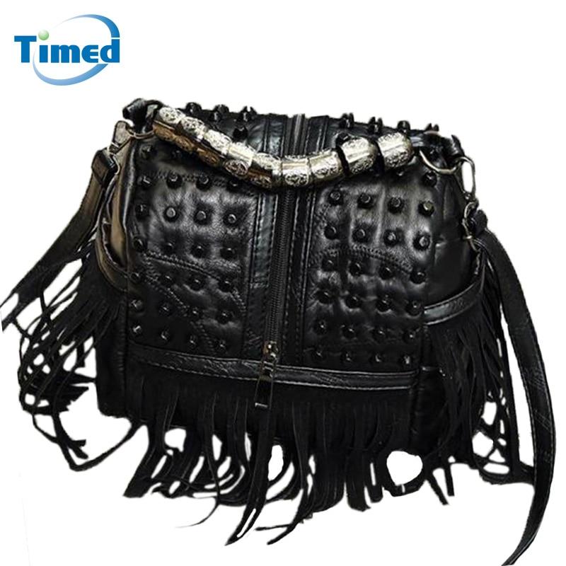 New Design Fashion Sheepskin + Pu Leather Tassel Shoulder Bags Women Casual Punk Style Handbags Rivets Messenger Bag Lady Totes