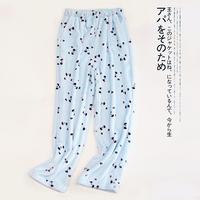 Kawaii Panda Coral Velvet Sleep Bottoms Women Winter Sheer Pants Thicken Flannel Keep Warm Pijama Pants