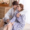 Lover's Robes Flannel Soft Kimono Bathrobe Colorful Bath Robes for Women Nightgown Men Long Pajamas