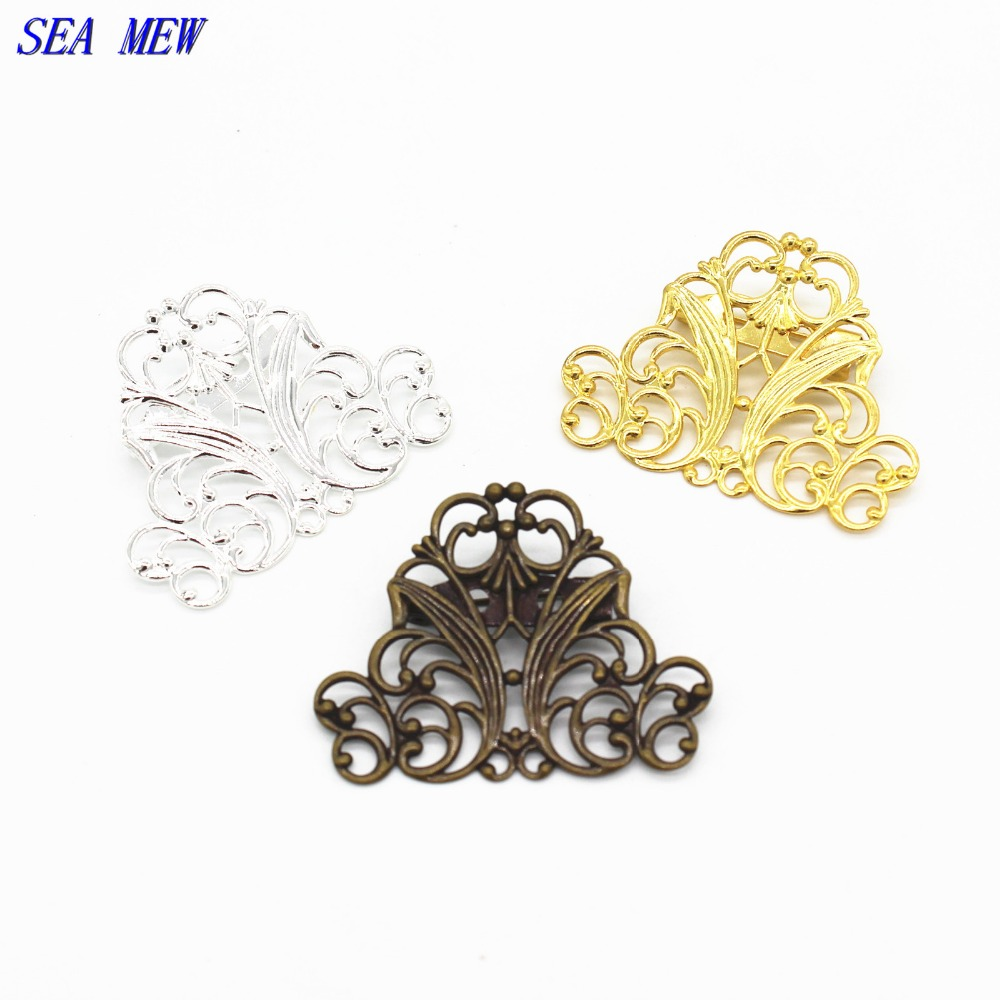 SEA MEW 29*37mm Copper Filigree Hollow Out Flower Brooch Base Setting Vintage Antique Bronze/Gold-Color DIY Components