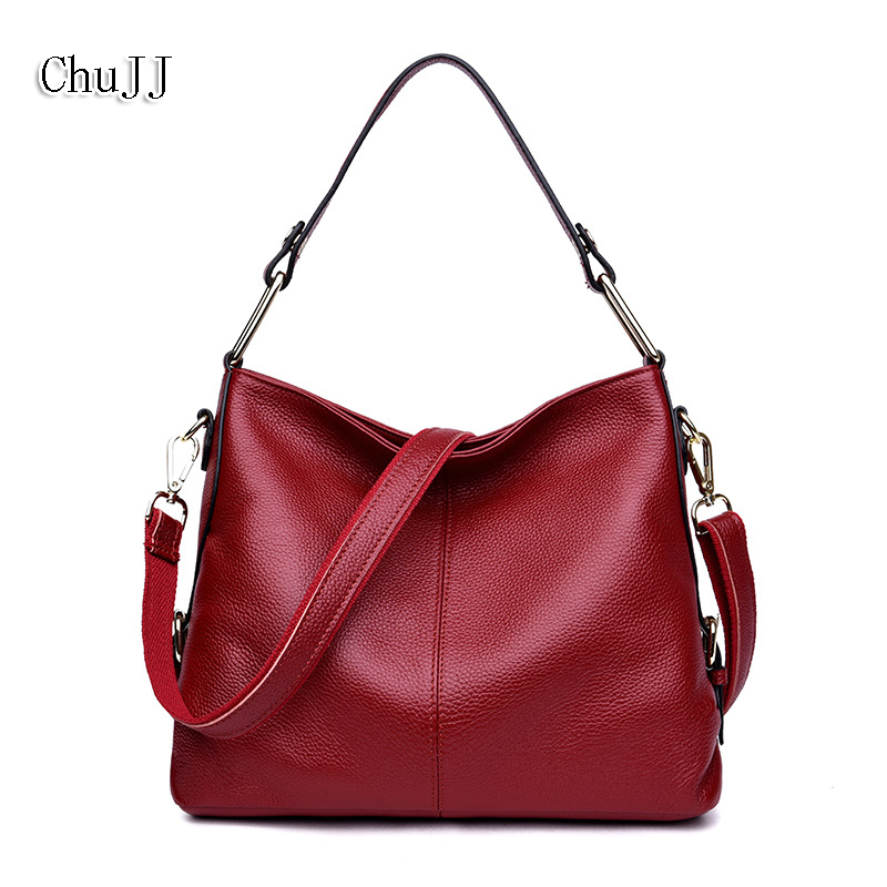 European and American Style Simple Cow Leather Women Bags 100% Genuine Leather Handbag Tote Bag Shoulder & Crossbody Bag