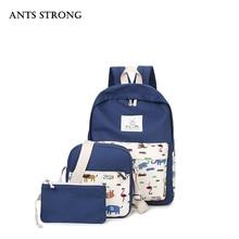Муравьи сильным большой емкости из трех частей рюкзак/путешествия холст сумка модные студенческие сумки