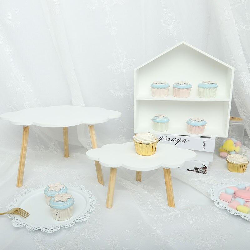 Nuage gâteau stand en bois dessert décoration de table gâteau d'anniversaire plaque