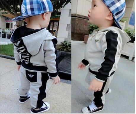 HTB1NiAZlborBKNjSZFjq6A SpXaO - 2019 spring Kids Clothes set Fashion Casual Letter Gray Zipper Hoodie+ Pants Baby Boys 2pcs Sets girl fall clothes Children Suit