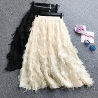 2019 Korean Lace Tassel Feather Pattern Long Loose Chiffon Skrit Women Elegant High Waist Midi A Line Pastel Office Skirt