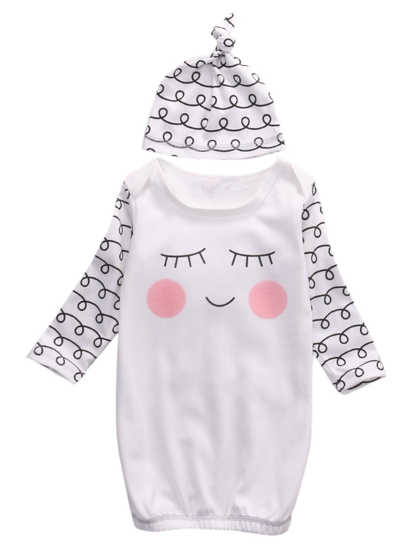 Cute Baby Rompers Cotton Sleepy Eyes+Rosy Cheeks Outfit Baby Gown ...