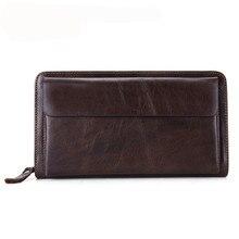 2016 Vintage Men Long Wallet Business head l wallets Leisure head layer cowhide Credit Card Holder Purse Handbag hand bag